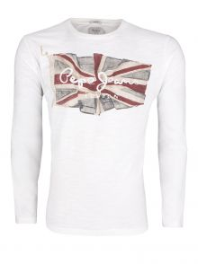 T-Shirt Pepe Jeans Flag Tee Long White