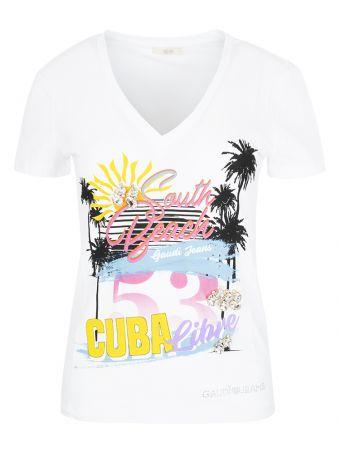 T-shirt Gaudi Jeans z odważnym nadrukiem