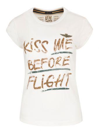 T-shirt z odważnym nadrukiem Aeronautica Militare